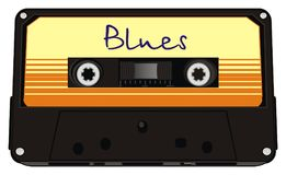 Blues of cassette. Black audio cassette with blues music Royalty Free Stock Images