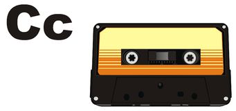 Cassette and letters. Black audio cassette with two black letters c Royalty Free Illustration