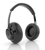 Black audio headphones 3D. Icon. on white vector illustration