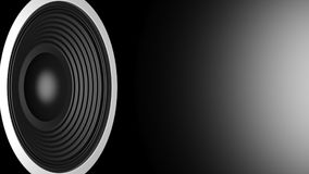 Black audio speaker on black background, copy space. 3d illustration Stock Photography