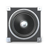Black audio speaker. 3D render illustration  on white background. Front view Stock Image