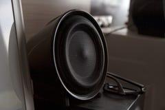 Black audio speaker in home interior royalty free stock photo