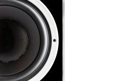 Black audio speaker membrane Stock Images