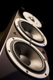 Black audio speakers. Black high gloss music speakers on black background Stock Photography