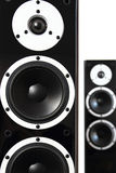 Black audio speakers. Pair of black high gloss music speakers isolated on white background Royalty Free Stock Images