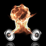 Black audio system with fiery sound waves. Forming fire ball Royalty Free Stock Photo