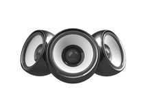 Black audio system isolated Royalty Free Stock Images