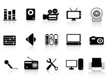 Black audio, video and photo icons Stock Photography