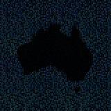 Australia map on hex code illustration. Black Australia map on shades of blue hex code illustration stock illustration