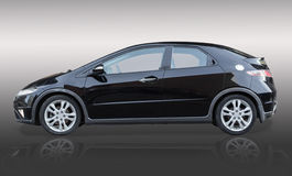 Black auto on gradient background. With reflection side view Stock Photo