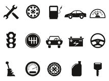 Black auto icons set Royalty Free Stock Photos