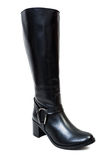 Black autumun leather boots for women Stock Image