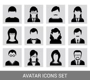 Black avatar icon set Royalty Free Stock Images