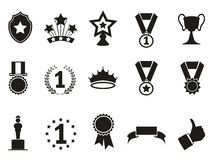 Black award icons set Royalty Free Stock Photo
