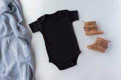 Black Baby Bodysuit & Shoes - Baby One Piece Mockup - Flat Lay Baby Grow Mockup