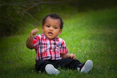 Baby boy outside Royalty Free Stock Photos