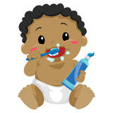 Black Baby brushing teeth Royalty Free Stock Photography