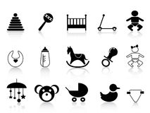 Black baby icons set Stock Image