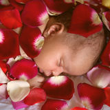 Black baby sleeping in rose petals Royalty Free Stock Photo