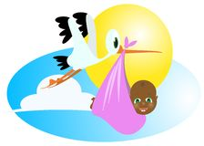 Black baby and stork. A stork transporting newborn black baby vector illustration Royalty Free Stock Image