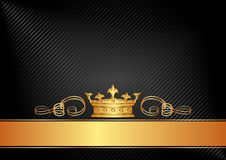 Black background. With golden crown Stock Photos