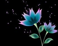 Black background with abstract flowers. Black background with abstract blue flowers Vector Illustration