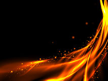 Black background with abstract Golden fire ascending red lines and stars. Abstract glowing lines of fire and stars on a black background, vector illustration Stock Photos