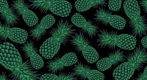 Abstract background with pineapple. On a black background abstract pineapples, precious stones, metal Stock Images