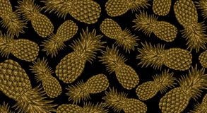 Abstract background with pineapple. On a black background abstract pineapples, precious stones, metal Stock Image