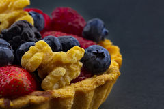 Black background behind walnuts and berries fruit tart Stock Images