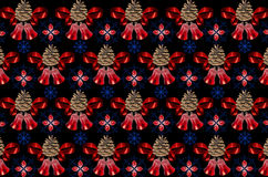 Black background with blue snowflakes covered with red bells Stock Photos