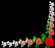 Black background with borders of roses Royalty Free Stock Images