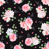 Black background with bouquets of rose, peony, camellia, orchid, anemone, blue berries and eucaliptis leaves. Seamless vector print with pink petals Stock Photo