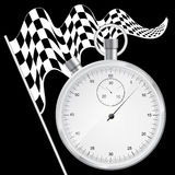 Black background with checkered flag and stopwatch Stock Photos