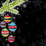Black background with christmas balls Royalty Free Stock Image