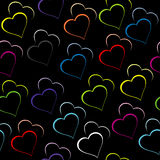 Black background with colored hearts. Black background with colored stylized hearts Stock Photos