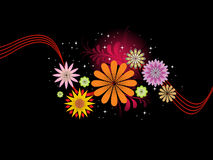 Black background with colorful blossoms Stock Photos