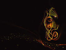 Black background in the colors of the flame with abstract floral ornament and gold lines and stars Stock Photos