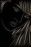 Black background with a contour of a face. Vector black background with a contour of a face Stock Photos