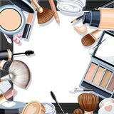 Black background with cosmetic objects for makeup frame Stock Photos
