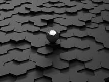 Black background of 3d hexagons and steel sphere Stock Image