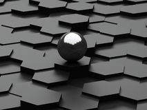 Black background of 3d hexagons and steel sphere Royalty Free Stock Images