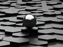 Black background of 3d hexagons and steel sphere Royalty Free Stock Photo