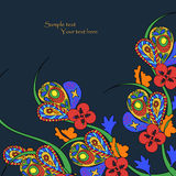 Black background with decorative bright flowers. Pattern can be used for wallpaper, pattern fills, web page background,surface textures. Gorgeous seamless Stock Photo