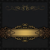 Black background with decorative gold border. Stock Image