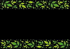 Black background with decorative stripes align top and below with green leaves and dots. For decoration, scrapbooking paper, sheet of book or notebook, wedding Royalty Free Stock Images