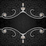 Black background with diamond jewelry border Stock Photography