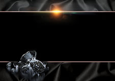 Black background. With diamonds and lens flare Stock Photos