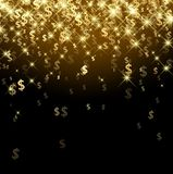 Black background with dollar signs. Black luminous background with golden dollar signs. Vector paper illustration Royalty Free Stock Photo