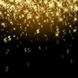 Black background with dollar signs. Black luminous background with golden dollar signs. Vector paper illustration royalty free illustration